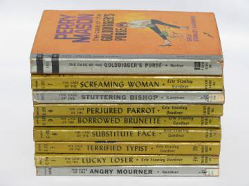 50s Perry Mason Pocket Book mystery paperbacks lot, pulp cover art