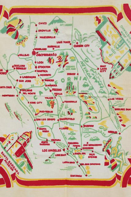 picture regarding Printable Map of Southern California named 50s common California map print tablecloth, southern Cali