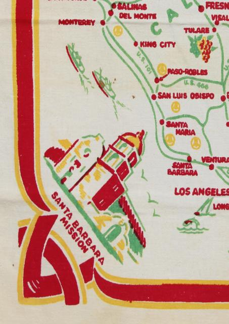 50s vintage California map print tablecloth, southern Cali cities & landmarks