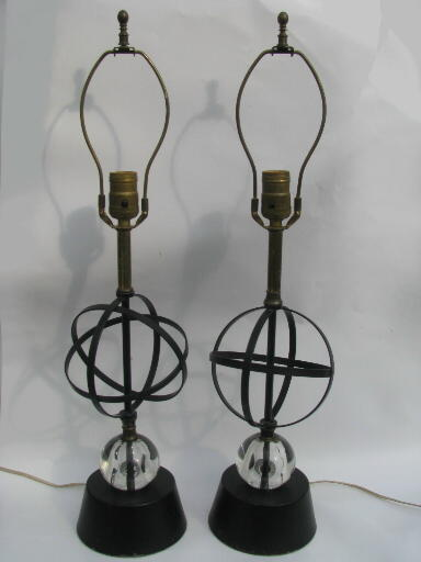 50s Vintage Atomic Table Lamps Mid Century Modern Metal W Glass Orbs