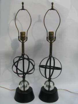 50s vintage atomic table lamps, mid-century modern metal w/ glass orbs