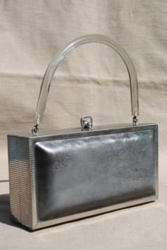 50s vintage box bag purse w/ lucite handle, gunmetal silver plastic handbag