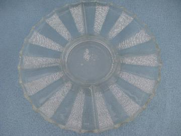 50s vintage dewdrop pattern glass relish plate, round platter w/ stand