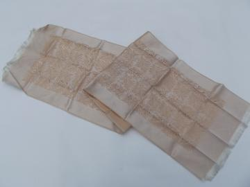 50s vintage evening scarf, silky French jacquard fabric in ivory