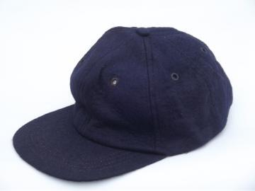 50s vintage felt baseball cap beanie hat, navy blue wool/rayon felt