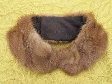 50s vintage fur collar for cute little cardigan sweater, lined mink