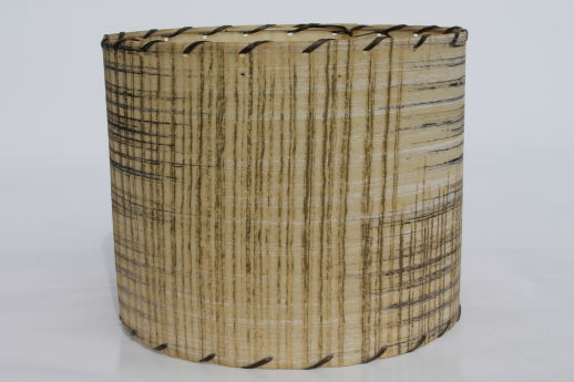 50s Vintage Lampshade, MCM Laced Edge Parchment Or Fiberglass Lamp Shade,  Mini Drum Shade
