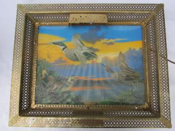 50s vintage lenticular hologram, retro lighted flying ducks picture