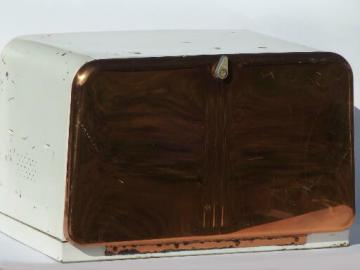 50s vintage Lincoln BeautyWare breadbox, copper front metal bread box