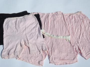 50s vintage lingerie lot, rayon pettipants, nylon slip, winter woolies