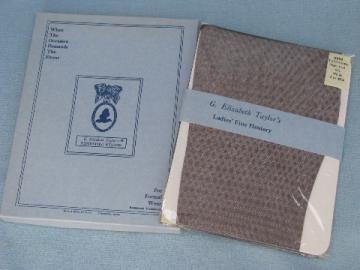 50s vintage nylon stockings lot, sheer black fishnet mesh, never used