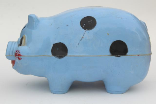 50s vintage piggy bank collection happy pigs hard plastic novelty toys