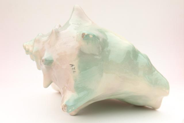 50s vintage pink & aqua sea shell conch planter, Weil Ware mid-century mod art pottery