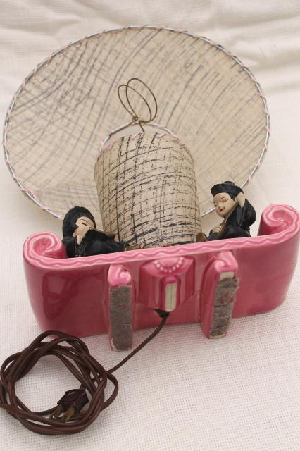 50s vintage pink ceramic TV lamp w/ Chinese boy & girl, laced parchment shade