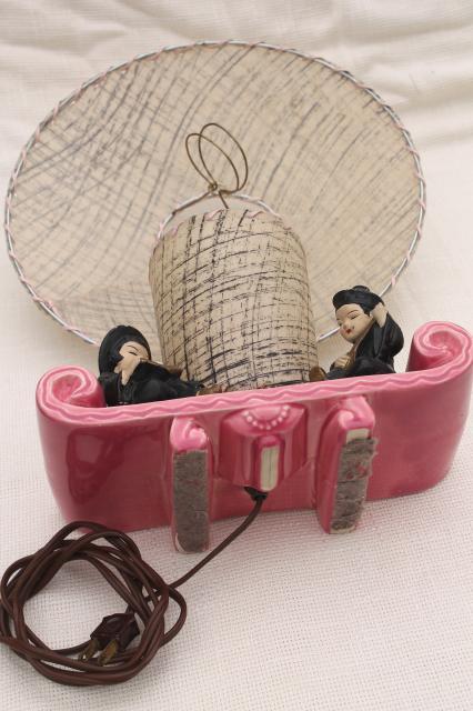 50s Vintage Pink Ceramic Tv Lamp W Chinese Boy Amp Girl