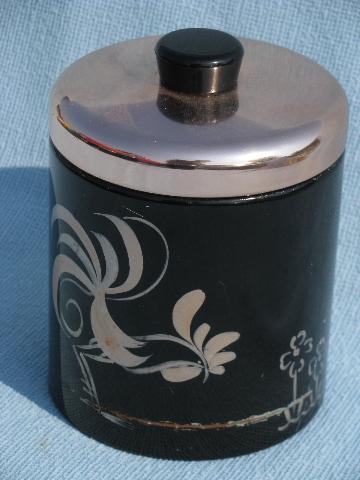 50s Vintage Ransburg Roosters Kitchen Canister Set Black Amp Copper Pink