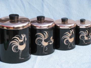 50s vintage Ransburg roosters kitchen canister set, black & copper pink