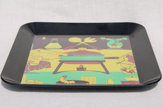50s vintage serving tray w/ retro barbeque grill buffet print on black melamine