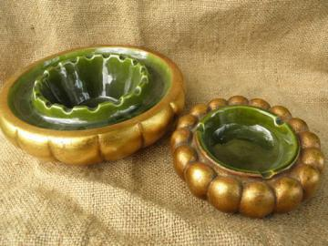 50s-60s mod gold ashtrays, vintage Freeman-McFarlin studio pottery