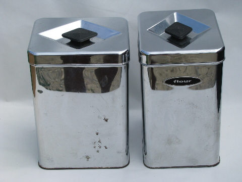 50s-60s vintage kitchen canisters, mod silver chrome canister set