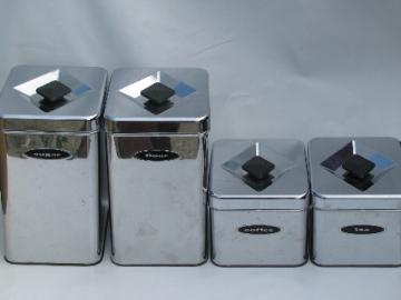 50s 60s Vintage Kitchen Canisters Mod Silver Chrome Canister Set