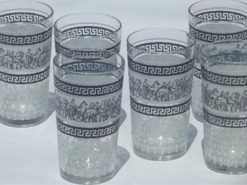 6 blue and white classical greek key pattern glass tumblers, 60s vintage