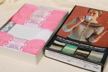 60 vintage knitting kit w/ pattern, retro snug cardigan sweater pink mohair yarn w/ silver