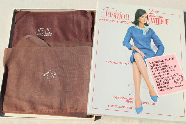 60s 70s 80s vintage nylon stockings, stretch stockings nude suntan shades