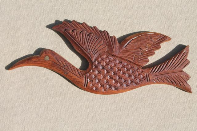 60s 70s Hippie Vintage Carved Wood Birds From India Retro Wall Hanging Plaques Set