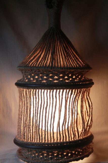60s 70s Hippie Vintage Macrame Jute Rope Hanging Light, Huge Globe Lantern  Swag Lamp