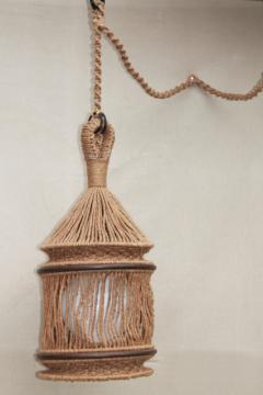 60s 70s hippie vintage macrame jute rope hanging light, huge globe lantern swag lamp