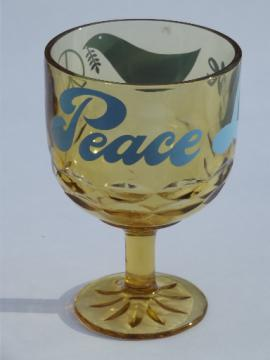 60s 70s hippie vintage Peace wine glass, big goblet w/ dove & peace sign