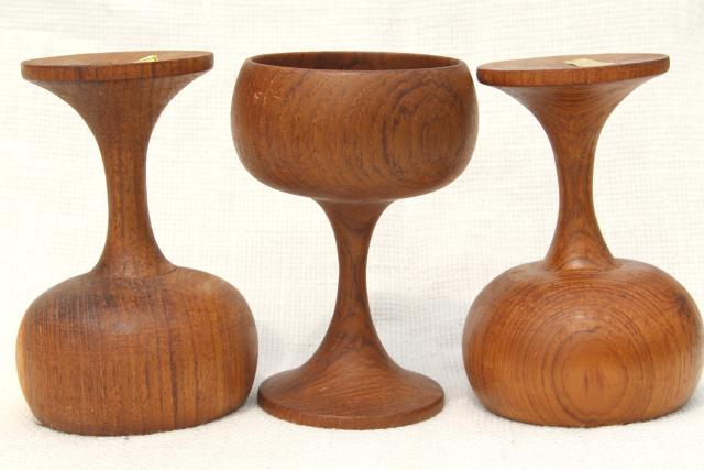60s 70s mod vintage Thai teak wood goblets, wine glass shape candle holders