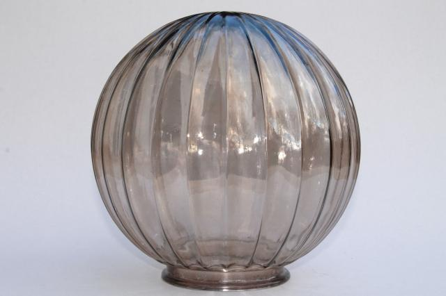 60s 70s mod vintage glass globe light shade, retro brown smoke luster color clear glass lampshade