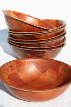 60s 70s retro Scandinavian modern vintage weavewood salad bowls set of 8