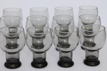 60s 70s retro smoke grey glass beer glasses, mid-century mod vintage