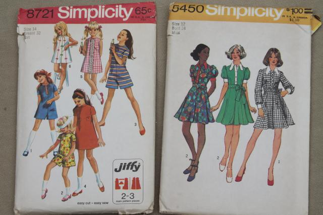 60s 70s retro vintage sewing patterns, fashions for juniors, junior miss teen girl 30 34 bust