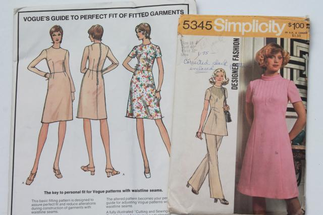 60s 70s retro vintage sewing patterns, plus size fashions, dresses etc 40-44 bust