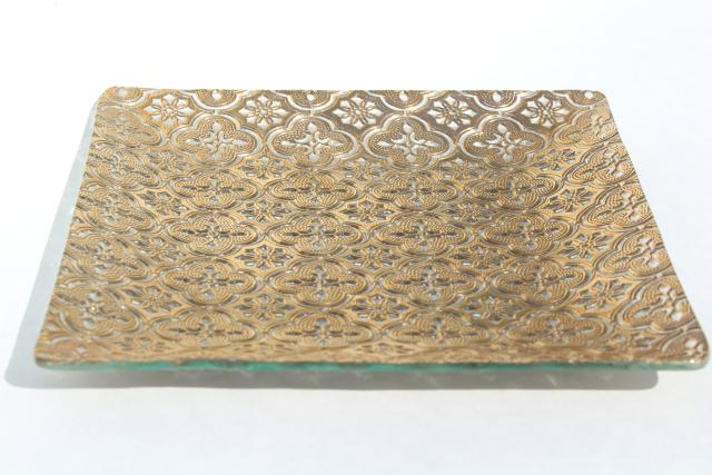 60s 70s vintage Briard Iberia square plate serving tray, embossed textured glass w/ gold