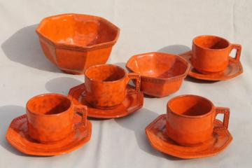 60s 70s vintage Italian pottery cups & saucers, bowls in orange glaze ceramic, PV Italy