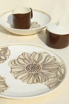 60s 70s vintage Royal China serveware, retro mod brown zinnia flower on white ironstone