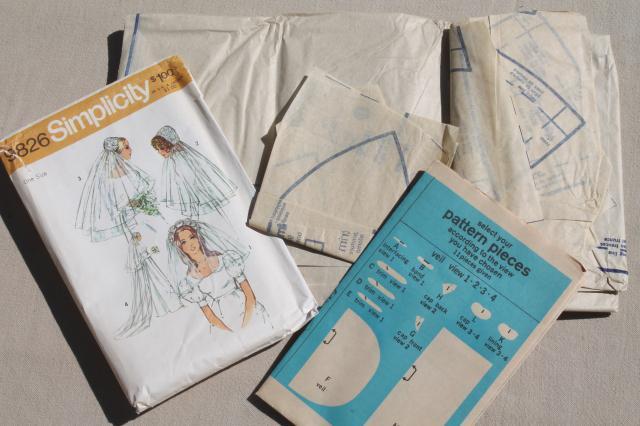 60s 70s vintage Simplicity sewing pattern bridal wedding veil juliet ...