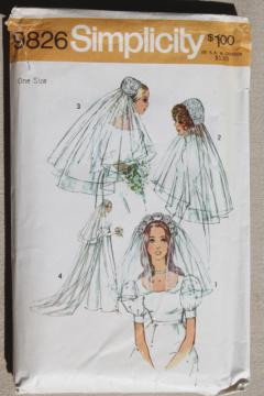 60s 70s vintage Simplicity sewing pattern bridal wedding veil juliet cap headpiece