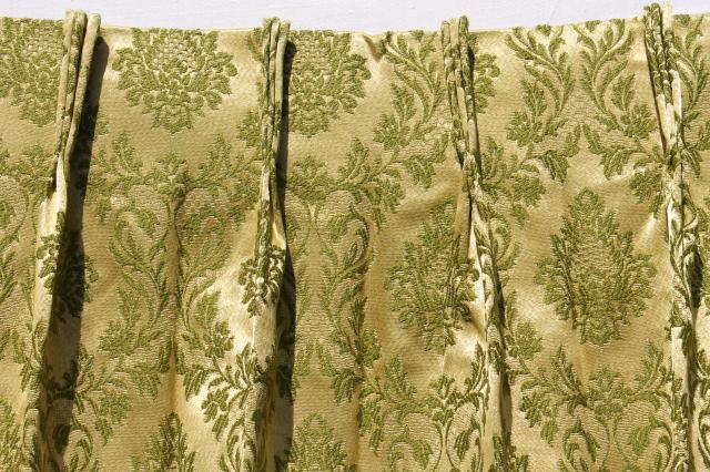 60s 70s vintage avocado green brocade drapes, vinyl backed fabric drapery panels set