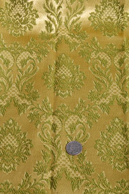 60s 70s Vintage Avocado Green Brocade Drapes Vinyl Backed
