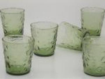 60s 70s vintage avocado green tumblers set, bubble crater textured glass