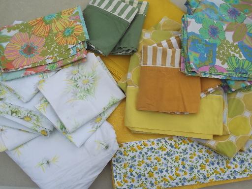 60s 70s Vintage Bed Sheets Retro Flowers Amp Stripes Print