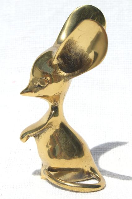 60s 70s vintage big eyed mouse w/ huge ears, solid brass animal paperweight figurine