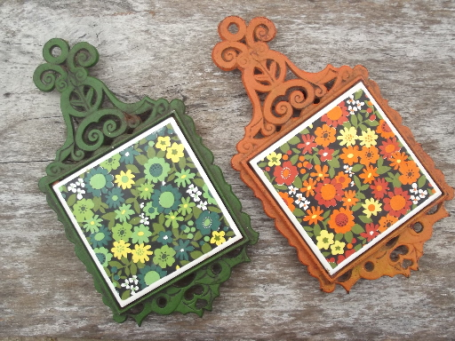 60s 70s Vintage Cast Iron Trivets Orange Green W