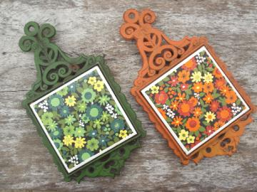 60s 70s vintage cast iron trivets, orange & green w/ daisies  ceramic tiles
